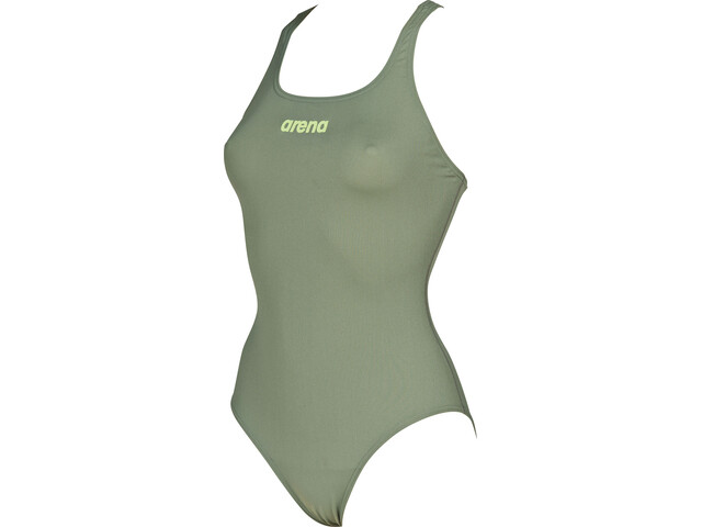 arena Solid Swim Pro One Piece Swimsuit Dame army-shiny green